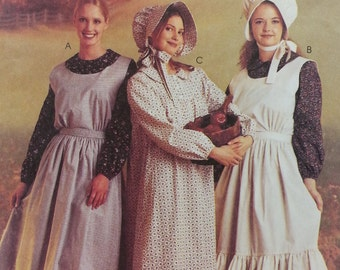 Mccalls Costumes 9423 Misses Size 8-10  Pioneer Dress with buttoned yoke, Pioneer Apron, and Pioneer Bonnet