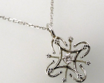 A Delicate White Gold and Diamond, Edwardian-style Filigree Pendant with Chain (P1626)