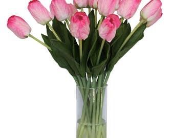 Pink Tulip Centerpiece Faux Floral Arrangement
