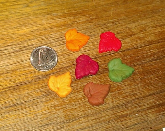 Mini Vine Leaves Polymer Clay Beads Charms 15mm Fall Fiesta Vintage Style