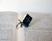 The Raven by Edgar Allan Poe Tiny Black Book Ring . Book with quote. Book lover gift