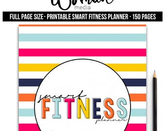 Full Page Fitness Planner Printable, SMART Fitness Planner, Workout Journal, Food Journal, Motivational Journal, Goal Planner, Printable