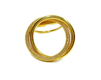 Vintage Scarf Clip | Western Germany | Costume Jewelry | Gold Tone Clip | Scarf Ring Clasp Fashion Accessory | Classic Double Circle Design