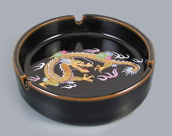 Vintage mid century signed Otagiri OMC Japan black ceramic enamel ashtray with colorful dragon / smoking / tobacciana / cigarette / cigar