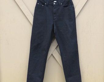 80s/90s vintage Liz Claiborne Dark Black High Waist Cotton Twill Stretch Pants / LizWear Jeans