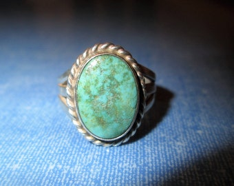 RING -  TURQUOISE - Matrix - HANDMADE  - Estate Sale - Sterling Silver - Size  6   Turquoise142