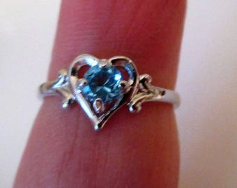 RING - Blue TOPAZ -CHILDS  - Heart - Knuckle - 925 - Sterling Silver  - size 4 blue486