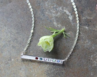 Silver Bar Necklace with Birthstones, Delicate Sterling Birthstone Bar Necklace. Family Necklace. Mother's Birthstone Necklace. GRATITUDE.