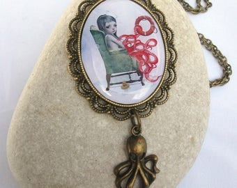 Octopus Girl Necklace - Octopus Charm Necklace - Art Cameo Necklace - Bronze Necklace - Forever Blowing bubbles