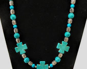 Turquoise Crosses Beaded Necklace