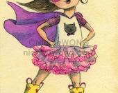 Original ACEO Watercolor Painting and Ink Drawing Artwork -- Super Kitty Princess