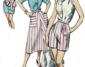 Summer Jamaica Shorts, Shirt, and Flared Skirt, 50s Simplicity Sewing Pattern 2076, Womens Size 20, Bust 40 Inches, Waist 32 Inches