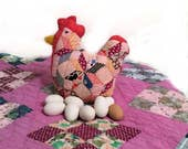 Chicken Pillow, Rustic Country Home Decor, Handmade Primitive Farmhouse Hen, Recycled Vintage Hand Stitched Quilt Block, Handmade by Me