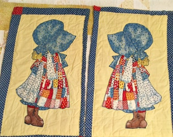 Vintage Sewing Craft Supply, Holly Hobbie Appliques on Two 1980s Cotton Quilt Blocks, Girls Room Wall Hanging, Rustic Country Cottage Decor