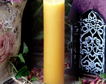 "BEESWAX 1.5x6"" Slim Tall Pillar Candle All Natural 100% Premium Yellow Beeswax - Naturally Aromatically Divine"