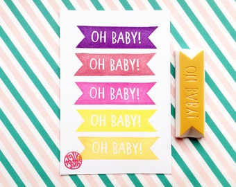 oh baby! rubber stamp. ribbon hand carved stamp. baby shower stamp. diy baby shower favor bags. holiday gift wrapping
