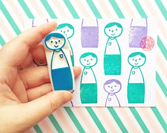 kokeshi doll stamp, father stamp, dad stamp, boy hand carved rubber stamp, father's day gift wrapping, card making, diy projects