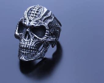 Biomechanical Skull Ring Fine Silver, Detailed Skull Ring Jewelry, Hand Designed Skull Ring