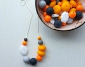 penny - necklace - vintage remixed lucite - grey orange yellow white necklace