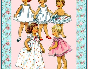 Vintage 1955-TODDLER LINGERIE WARDROBE-Sewing Pattern-Seven Styles-Slips-Ruffle Petticoat-Panties-Nightgowns-Sweet Trimmings-Size 3-Rare