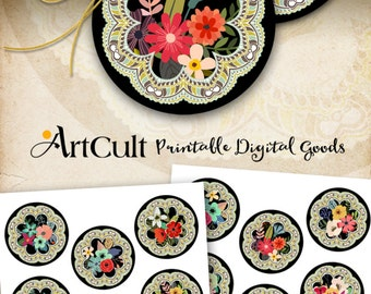ArtCult Printable digital images FLORAL JOY 2.5 inch circles for pocket mirrors, paper weight cupcake toppers, scrapbooking instant download