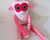 Monster Plush - OOAK Handmade Plush Monster Toy - Hand Embroidered Stuffed Monster - Pink Faux Fur Monster - Cute Weird Stuffed Toy Monster