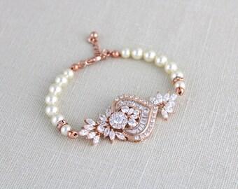 Rose Gold Bridal bracelet, Crystal wedding bracelet, Wedding jewelry, Rose Gold jewelry, Art Deco Bracelet, Pearl bracelet, Cuff EMMA