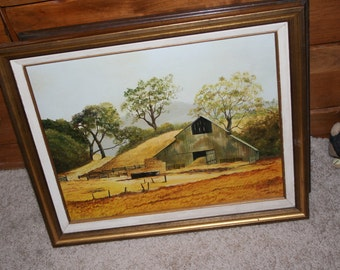 Barn Oil Painting by Hillis