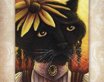 Black Cat Fairy, Black Eyed Susan Flower Fantasy Art 8x10 Reproduction Print