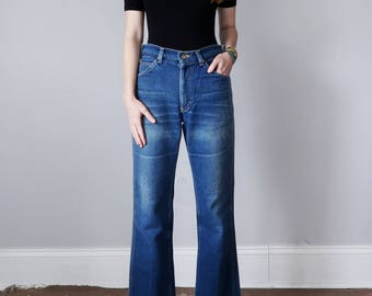 lee jeans / denim 70s 80s medium blue wash faded high waist straight leg (m - l)