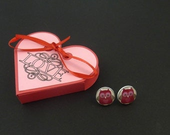 "Handmade Owl Earrings and Handmade Love Heart Gift Box.   Valentine Heart Owl Post or Stud Earrings.  1/2"" or 13 mm round"