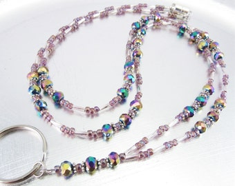 Faceted Rainbow Crystal and Amethyst Glass Beaded ID Lanyard, Badge Holder, ID Badge Necklace
