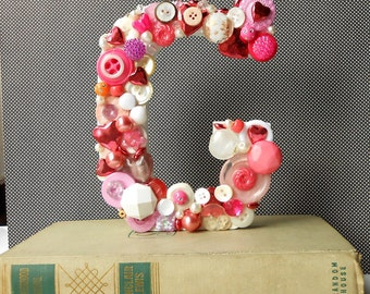 G Initial in Pink and White  - Handmade Artful Freestanding Designer Letter,  Button / Bejeweled Bookcase Letter, Nursery Initial