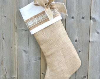 Christmas Stocking, Burlap Christmas, natural christmas stockings, rustic christmas decor, jute stocking, X-Mas decor