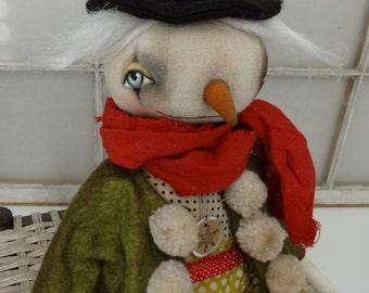 EPATTERN - Keeper of the Snow primitive folk art christmas snow folk doll epattern