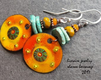 Boho Chic Colorful Enamel Circle Charm and Ceramic Earrings, Orange Enamel Turquoise Ceramic Czech Glass Copper Sterling Silver Earrings