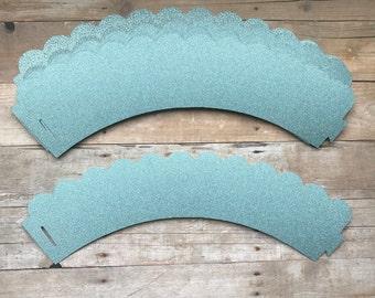 1 Dz Blue Glitter Cupcake Wrappers