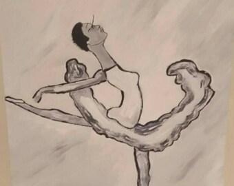 blackballerina, african female,  ballet woman, black woman dance ,long neck black woman, african american art, black female,ballet dance art