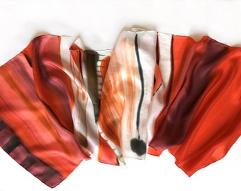 Silk Scarf- Carmine Stripes/ Hand painted silk scarf, Abstract scarf painted, Red maroon long scarf, Silk Painting, Handmade scarf gift her