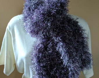 Fun Fur Knit Scarf in Glittery Silver with Purple & Gray Colors  - Cozy Soft and Warm  C#15