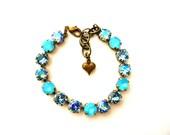 Swarovski Crystal Bracelet Pastel Turquoise Aqua Aqua Glacier Blue Rhinestone Tennis Bracelet, Big Stone Looks, Rhinestone Bracelet, Gifts