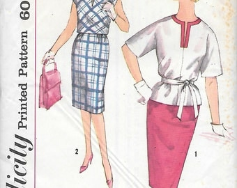 Simplicity 3861 UNCUT 1960s Top and Wiggle Skirt Vintage Sewing Pattern Bust 32 Pencil Skirt