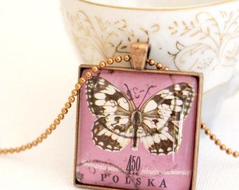 butterfly pendant, postage stamp 1967 Polska necklace butterfly jewelry, square pendant