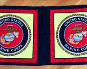 fabric panel craft quilt quilting 2 pillow tops cotton U.S. MARINE CORPS united states usa patriotic americana military red yellow black new