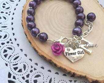 Child bracelet, adjustable bracelet, eggplant purple, flower girl, flowergirl, rose, flower, personalized initial bracelet.