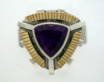 One of a kind Amethyst Ring in a combination of 14k gold and sterling silver.