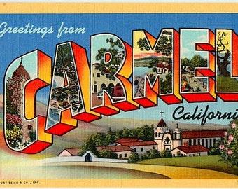 Vintage California Postcard - Greetings from Carmel (Unused)