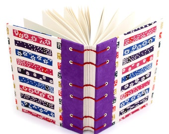 Purple Katazome Journal - handmade by Ruth Bleakley