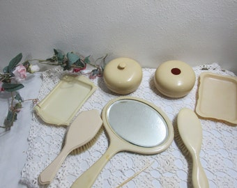 Celluloid Vanity Mirror Brush Tray Powder Jar Hair Receiver 7 Pieces AS IS