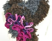 Fluffy Flower - Crochet Fluffy Multi color Scarf
